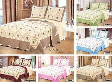 Floral Embroidered Quilted Cotton Bedspread Throw + 2 Pillow Shams