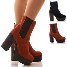 LADIES WOMENS PLATFORM BOOTS ANKLE CHELSEA BLOCK HIGH HEEL GUSSET SHOES SIZE
