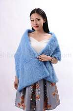 100% Real Hand Knit Mink Fur Scarf Cape Shawl Wrap Stole Coat Evening Fashion