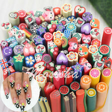 10X 3D Fruit Flower Nail Art Fimo Canes Stick Rods Polymer Clay Stickers Decor