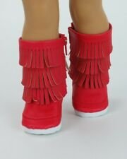 """Doll Clothes AG 18"""" Boots Fringe Suede Red Made To Fit American Girl Dolls"""