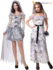 Ladies Ghost Bride Costume Adults Zombie Corpse Halloween Fancy Dress Womans