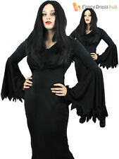 Ladies Black Gothic Vampire Costume Adult Vampiress Halloween Fancy Dress Outfit