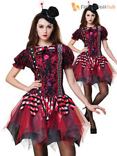 Ladies Horror Clown Costume Adults Circus Halloween Fancy Dress Womans Outfit