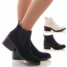 LADIES WOMENS BLACK CHELSEA BOOTS LOW BLOCK HEEL ANKLE FASHION SHOES SIZE