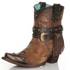 Corral Vintage Womens Western Ankle Cowgirl Boot Fringe Stud Strap