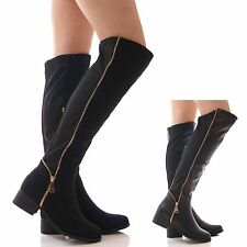LADIES WOMENS STRETCH BLACK BOOTS GOLD ZIP KNEE HIGH WIDE FIT WINTER SHOES SIZE