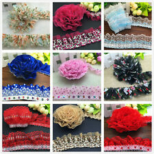 DIY 1/3/5 yards 40mm 45mm 50mm 55mm Organza Lace Gathered Pleated Sequined Trim