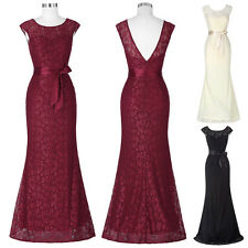 Retro Bridal Long Lace Evening Gown Bridesmaid Dress Prom Formal Party Ball Gown