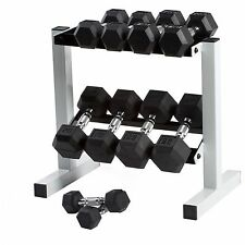 Rubber Coated Iron Pair Dumbbells CAP Barbell Hex Pro Set of 2 Fixed Weights NEW