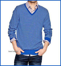 GAP Mens COTTON Striped V Neck Sweater ACTIVE BLUE Brand New FREE Fast Shipping