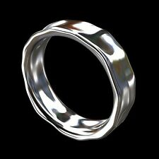 14K White Gold Unique Hammered Finish Men's Eternity Wedding Band 6mm Wide