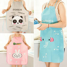 New Womens Cute Cartoon Waterproof Aprons Kitchen Restaurant Cooking Bib Aprons