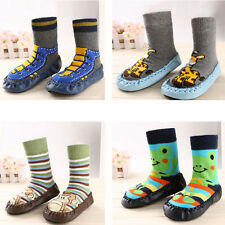 1PC Multi Size Infant Cartoon Shoes Indoor Leather Sole Non-Slip Thick Socks New