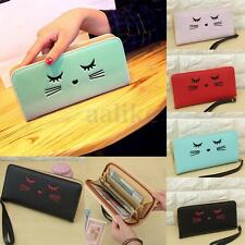 Women Ladies Leather Wallet Cat Credit Card Cash Holder Purse Clutch Handbag New