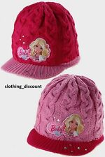 GIRLS KIDS BARBIE CABLE KNITTED WOOLY HAT WARM WINTER PINK BEANIE 3-6 7-10 years