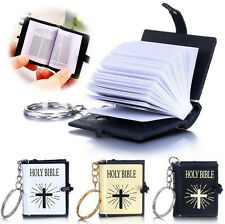 English Christian HOLY BIBLE Cross Keyrings Keychains Religious Bible Mini Jesus