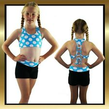 Black Velour and Blue and White Polka Dot Childrens Dance Shorts & Fancy Tie Top