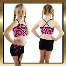 Black & Pink/Black Tiger Print Tie Shorts and Crop Top Childrens Dance Costume