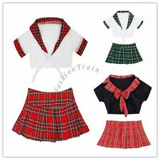 Sexy Women School Girl Role Play Uniform Plaid Skirt Fancy Dress Cosplay Costume