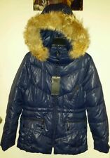 New Girl's Youth Andrew Marc Blue Real Fur Hood Puffer Down Jacket Coat L14 $248