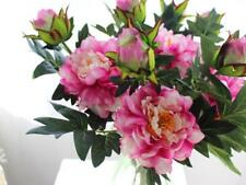 Artificial Peony Silk Flowers Bouquet 1 Flower 1 Bud Wedding Arrangements Decor