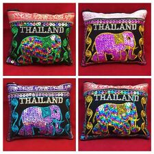 NEW THAI ELEPHANT BAG WALLET FABRIC EMBROIDERED COIN HANDMADE QUICK SHIP