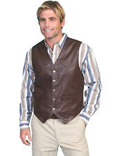 Scully Leather Mens Brown Soft Touch Lamb Lambskin Snap Vest