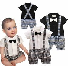 Kids Baby Boys Summer Short Sleeve Rompers Wedding Dressy Outfits Clothes 3-18M
