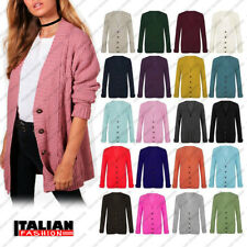 Women Ladies Long Sleeve Plus Size Button  Chunky Cable Knitted Grandad Cardigan