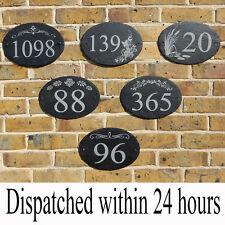 Rustic Slate door number house Sign Plaque Personalised pattern slate oval LARGE