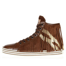 HOGAN REBEL New Woman brown Fringe Leather Suede Sneakers Shoes NWT