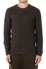 RICK OWENS Man Dark Dust Wool Round Neck GEORIB Sweater Made in italy