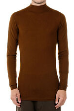 RICK OWENS Man New Mustard Wool High Neck Sweater Made in italy Original