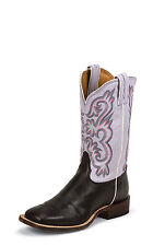Tony Lama Womens Black Destry Leather Americana Lavender Western Boots