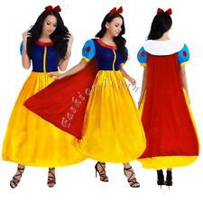Halloween Snow White Princess Cosplay Costume Fairytale Ball Gown Dress Adult