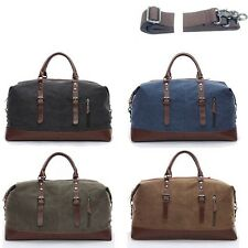 Men's Vintage Retro Genuine Leather Canvas Duffle Weekend Bag Shoulder Luggage