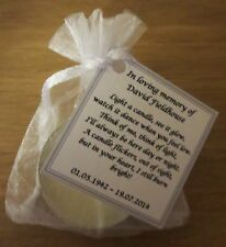 REMEMBRANCE CANDLES, FUNERAL CANDLES, MEMORIAL CANDLES - PERSONALISED FAVOURS
