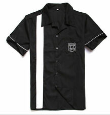 Mens Vintage Rockabilly Hot Rod Bowling Blackshirts 50s Embroidery Button