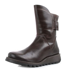 Womens Fly London Sien Rug Dark Brown Leather Ankle Boots Sz Size