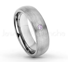 0.07ct Amethyst Ring, 6mm Brushed Dome Tungsten Ring, February Birthstone #060