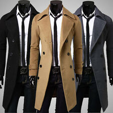 New Warm Winter Mens Slim Stylish Trench Coat Double Breasted Long Jacket Hot