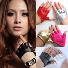 Womens Girls Half Finger PU Leather Gloves Fingerless Driving Show Pole Dance