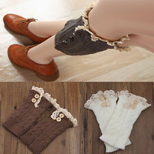 Women retro Crochet Knitted Lace Trim Boot Cuffs Toppers Leg Warmers Socks Sale