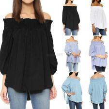 Sexy Off Shoulder Plaid Shirt Women Casual Loose Party Clubwear Blouse Plus Size