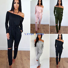 Womens Sexy One Shoulder Evening Party Club Playsuit Ladies Long Jumpsuit Romper