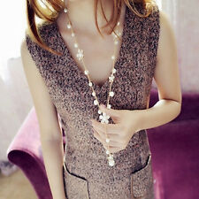 Womens Gold Plated Alloy Tassel Pendant Pearls Flower Long Sweater Necklace