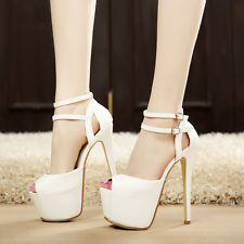 Hot Stiletto High Heels Peep Toe 4cm Platform Ankle Straps Clubwear Women Shoes