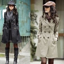 Women's Slim Fit Trench Charm Double-breasted Coat Fashion Jacket Outwear 8HOT