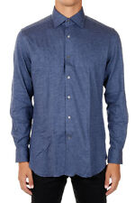 CORNELIANI New Men Blue cotton shirt Buttons Made in italy NWT